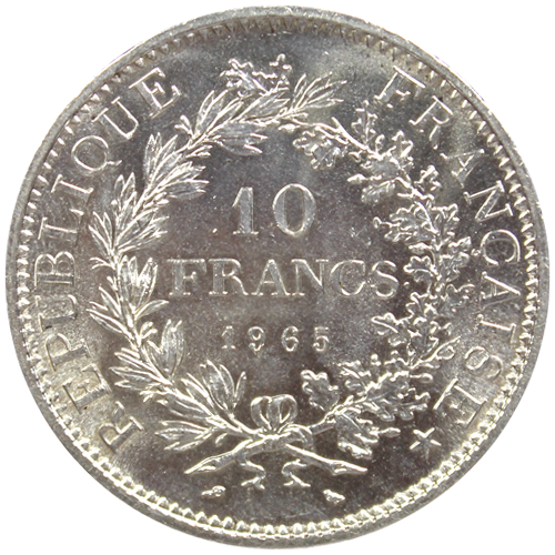 Illustration: 10 Francs Hercule Argent Pieces Francaises (Revers)
