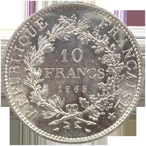 Illustration: 10 Francs Hercule Argent Pieces Francaises (Revers)